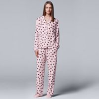 Petite Simply Vera Vera Wang Pajamas: Classic Romance Top, Pants & Socks PJ Set