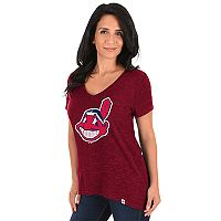 Women's Majestic Cleveland Indians Check the Win Tee