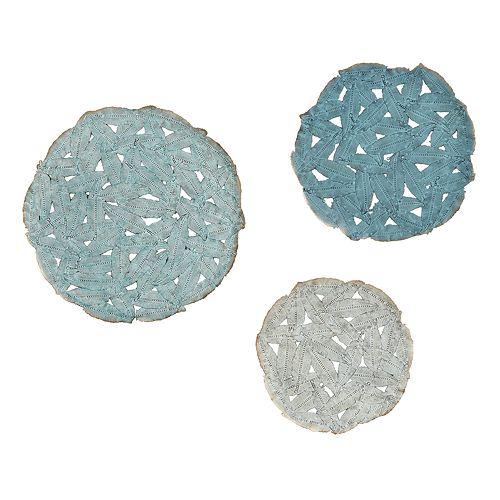 Madison Park Rosalie Blue Iron Wall Decor 3-piece Set
