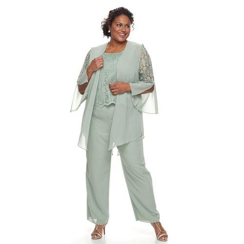 12443d58f6c Plus Size Maya Brooke 3-Piece Lace Pant Set