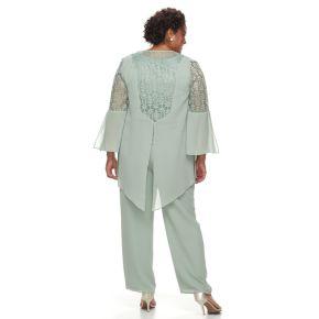 Plus Size Maya Brooke 3-Piece Lace Pant Set