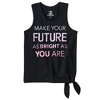 Girls 7-16 SO® Side Tie Graphic Tank Top