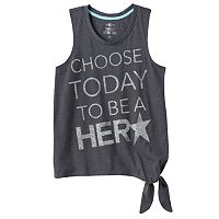 Girls Plus Size SO® Side Tie Graphic Tank Top