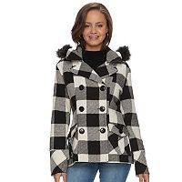 Juniors' Urban Republic Faux-Fur Double-Breasted Peacoat