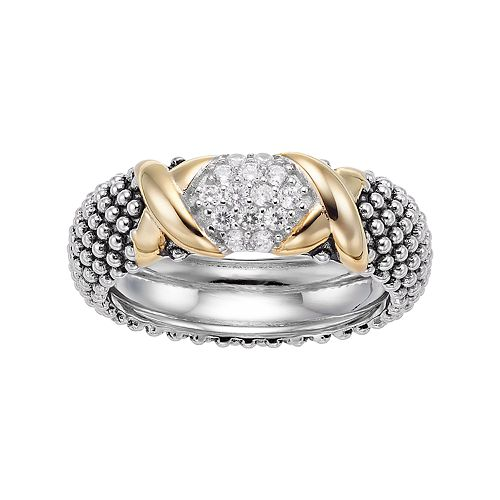 Two Tone Sterling Silver Cubic Zirconia X Beaded Ring