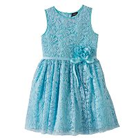 Girls Plus Size Lilt Flower Accent Lace Overlay Dress