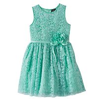 Girls Plus Size Lilt Flower Accent Lace Overlay Dress