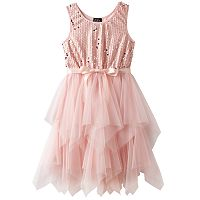 Girls Plus Size Lilt Sequin Soutache Bodice & Tiered Tulle Skirt Dress