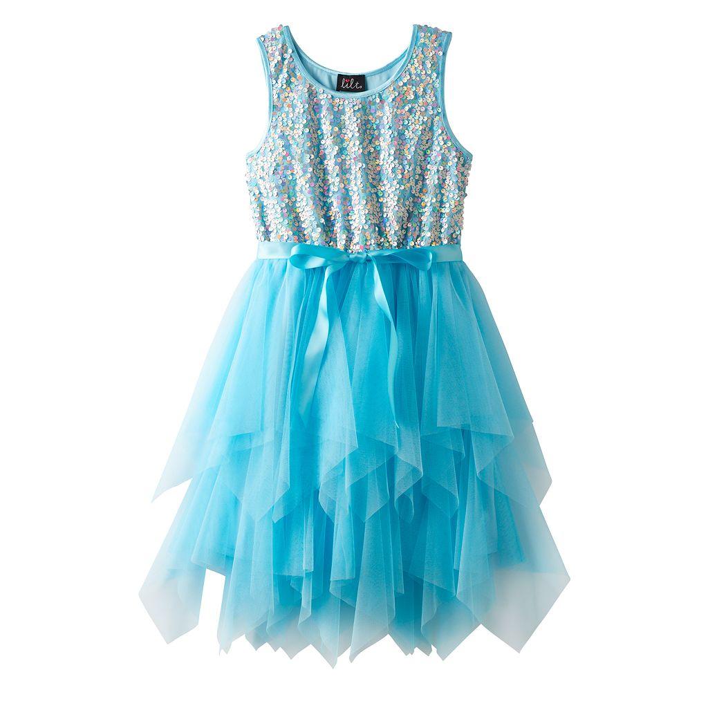 Girls 7-16 Lilt Sequin Soutache Bodice & Tiered Tulle Skirt Dress