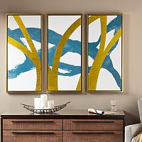 INK+IVY Vibrant Pulse Gold Tone Foil Framed Wall Art 3 pc Set