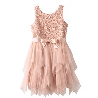 Girls Plus Size Lilt Soutache Flower Bodice & Tiered Tulle Skirt Dress