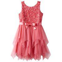 Girls Plus Size Lilt Soutache Flower Bodice & Tiered Tulle Skirt Dress