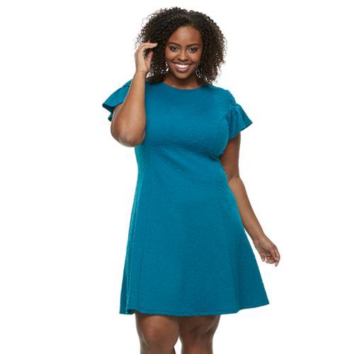 Plus Size Suite 7 Jacquard Fit & Flare Dress