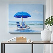 Madison Park Blue Beach Chairs Gel Coat Canvas Wall Art