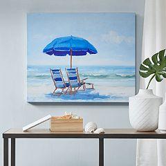 Madison Park Blue Beach Chairs Gel Coat Canvas Wall Art