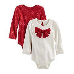 Baby Girl Baby Starters 2-pk. Polka-Dot & Bow Bodysuits