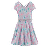 Girls Plus Size SO® Double Criss-Cross Back Belted Skater Dress