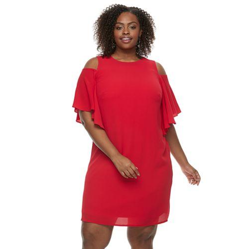 Plus Size Suite 7 Cutout-Shoulder Shift Dress