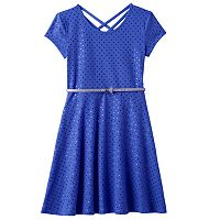 Girls 7-16 SO® Double Criss-Cross Back Belted Skater Dress