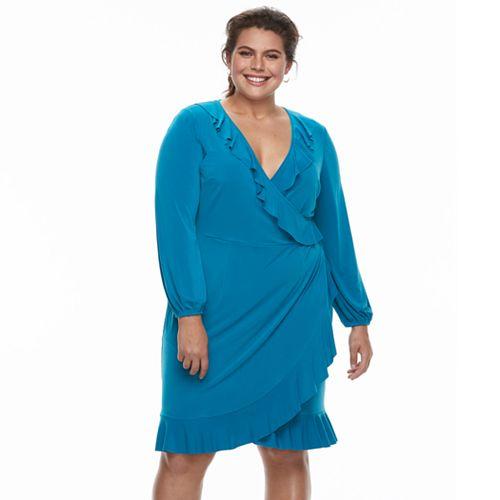 Plus Size Suite 7 Ruffle Faux-Wrap Dress