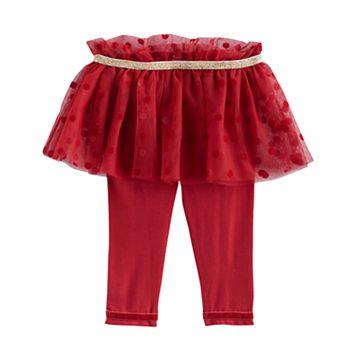 Baby Girl Baby Starters Glitter Polka-Dot Flocked Tutu Leggings