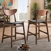 Baxton Studio Mid-Century Modern Counter Stool 2 pc Set