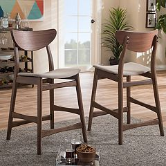 Baxton Studio Mid-Century Modern Counter Stool 2-piece Set