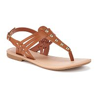 SO® Girls' Studded T-Strap Sandals