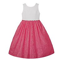 Girls 7-16 American Princess Rhinestone Waist & Lace Skirt Dress