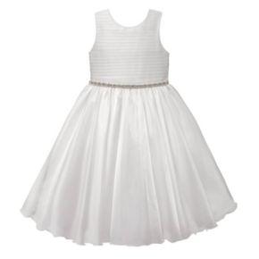 Girls 7-16 American Princess Rhinestone Waist Pleated Communion Dress