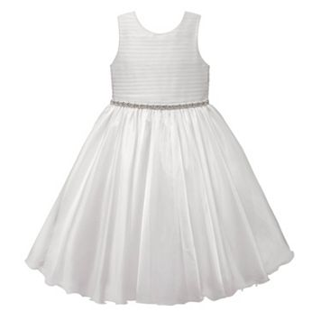 Girls 7-16 American Princess Rhinestone Waist Pleated Communion Dress