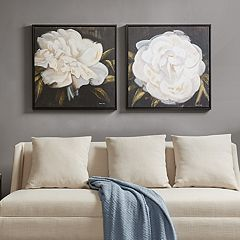 Madison Park Signature White Camellia Canvas Wall Art 2 pc Set