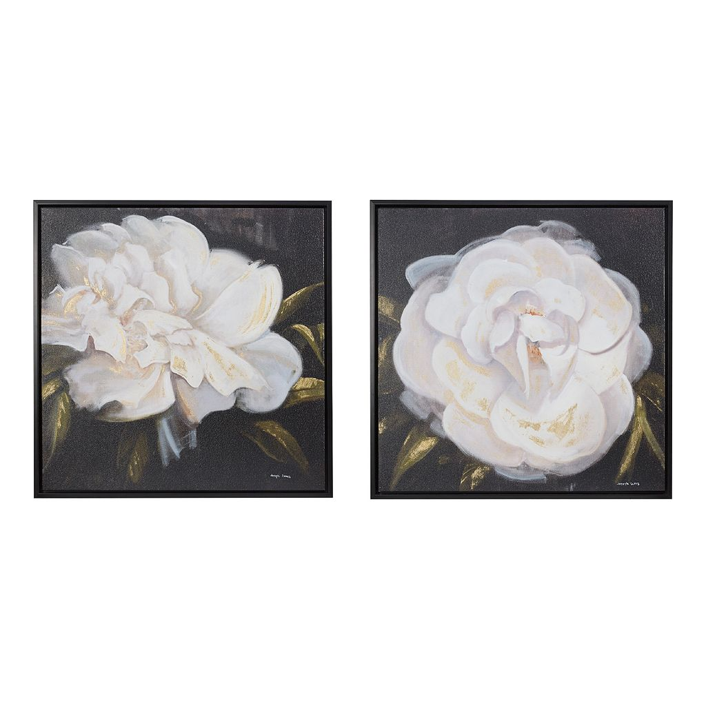 Madison Park Signature White Camellia Canvas Wall Art 2-piece Set
