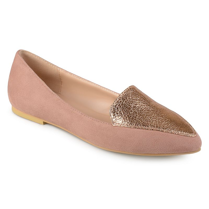 Journee Collection defines feminine elegance with these lovely flats.SHOE FEATURES Easy slip-on style SHOE CONSTRUCTION Faux suede upper Manmade outsole SHOE DETAILS Pointed toe Slip on Padded footbed 0.28-in. heel  Size: 12. Color: Pink. Gender: female. Age Group: kids.