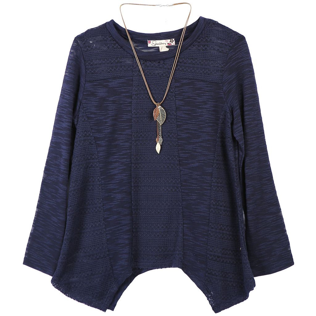 Girls 7-16 Speechless Handkerchief Hem Knit Sweater with Necklace