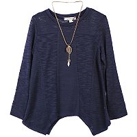 Girls 7-16 Speechless Handkerchief Hem Knit Sweater with Necklace