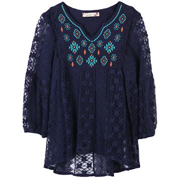 Girls 7-16 Speechless Embroidered Babydoll Lace Tunic