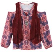 Girls 7-16 Speechless Vest, Cold Shoulder Top & Cami Set with Necklace