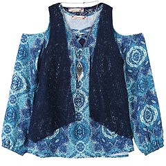 Girls 7-16 Speechless Vest, Cold Shoulder Top & Cami Set with Necklace