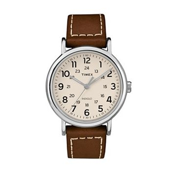Timex Unisex Weekender Leather Watch - TW2R42400JT