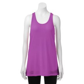 Juniors' SO® Mesh Back Racerback Tunic Tank