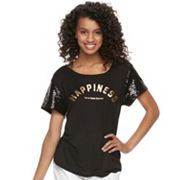 Juniors' Fifth Sun 'Happiness' Sequin Sleeve Graphic Tee