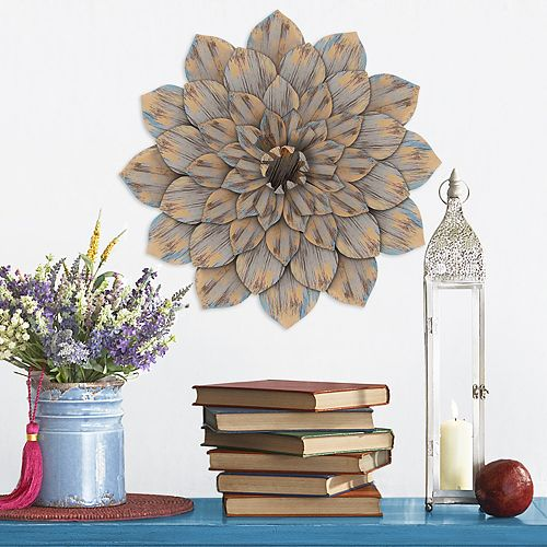 Stratton Home Decor Distressed Metal Flower Wall Decor