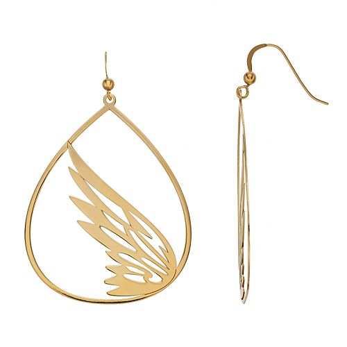 AMORE by SIMONE I. SMITH 18k Gold Over Silver Openwork Teardrop Wing Earrings