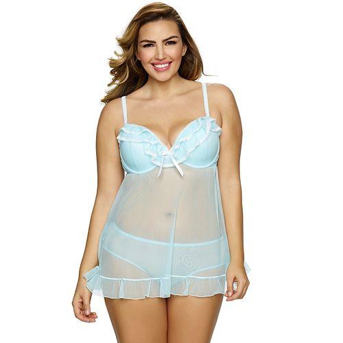 ad0dfa2b527e Plus Size Jezebel Tiffany Babydoll   Panty Lingerie Set 999895