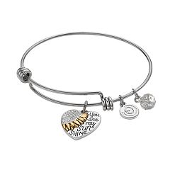 love this life Crystal 'You Are My Sunshine' Heart Charm Bangle Bracelet