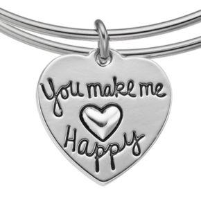 "love this life Crystal ""You Are My Sunshine"" Heart Charm Bangle Bracelet"
