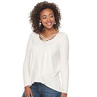 Juniors' Mudd® Cozy Cross Front Tunic