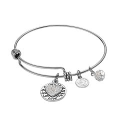 love this life Crystal 'Grandma' Heart Charm Bangle Bracelet