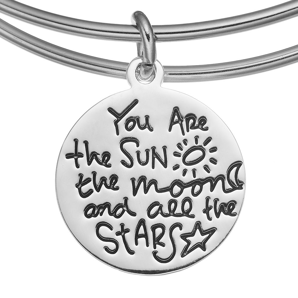love this life Moon Charm Bangle Bracelet